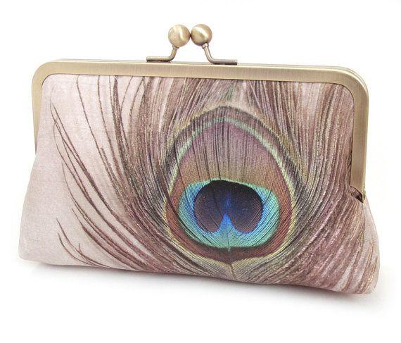 Clutch bag, peacock purse, peacock feather, bridesmaid gift, printed silk, gift box, SILK PEACOCK
