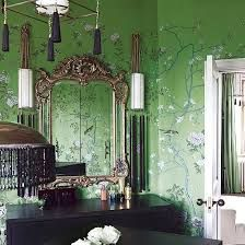 green wallpaper interior - Google Search