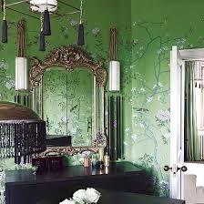 green wallpaper interior - Google Search