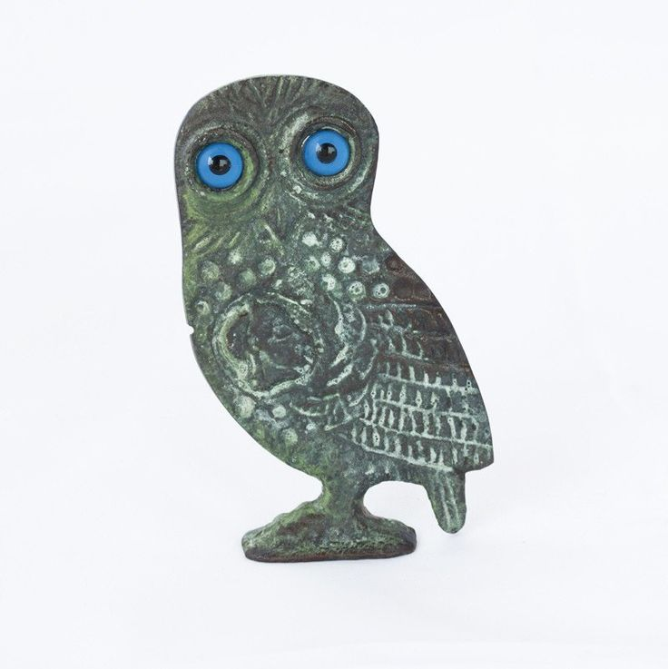 Owl Bronze Sculpture Bronze Table Art With Patina Finish Small Greek Bronze  Statue