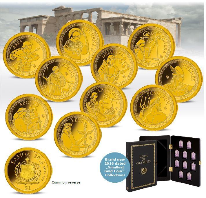 Συλλογή Νομισμάτων σε χρυσό Οι Θεοί του Ολύμπου, 10 Χρυσά Νομίσματα 14Κ, 1$, Σαμόα 2016 Coins Club Greece