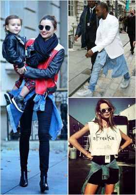 Iconic fashion in the 90's become new trends   Besides overall, one of the most iconic fashion in the 90's, shirts or jackets that tie at the waist. By the early 2000s, this mode was abandoned because it was outdated. But now, the trend was again victorious. Of male celebrities like Kanye West, to the beautiful model, Miranda Kerr also apply it in daily life style.