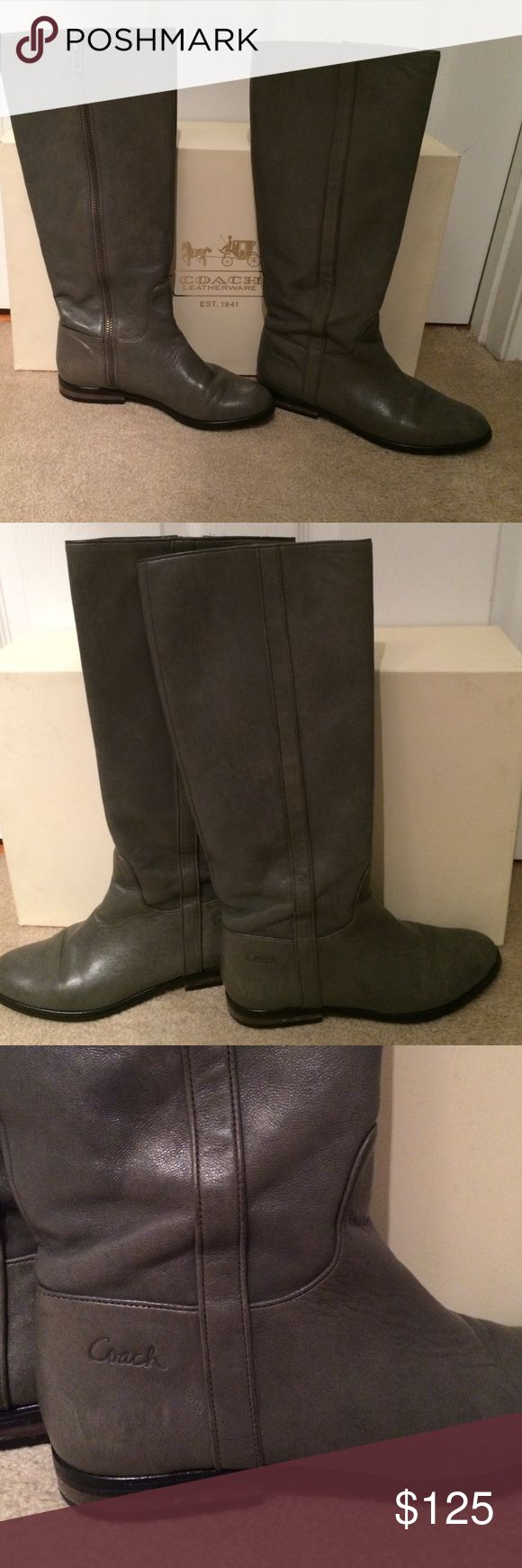 NEW FALL - Grey Coach Riding Boots Riding boots are in excellent condition and look great with leggings or jeans. Coach Shoes