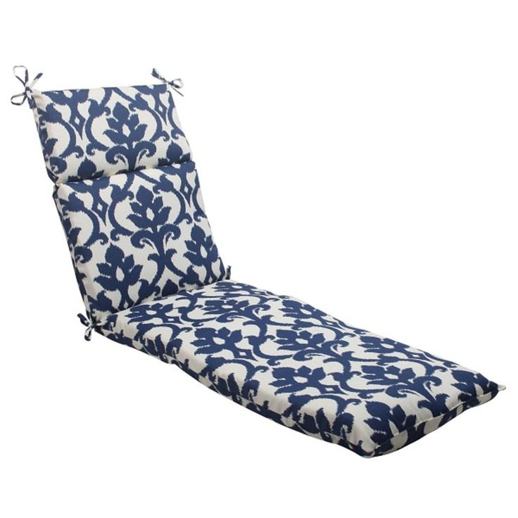 72.5 Navy Victorian Floral Outdoor Patio Chaise Lounge Cushion with Ties, Blue, Outdoor Cushion