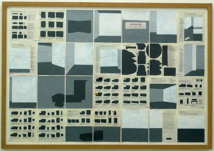 """Jochen Gerner. In Home, the work shown below, Gerner employs a process of similar negative writing. Working on the plates of a 2008 Us catalog of Ikea, the author """"empties the spaces"""", covering all the objects with variable tints of grey and leaving bare only the architecture of the spaces. All the goods originally shown isolated are similarly covered in black shapes. The process of re-reading of existing images and texts through covering and hiding, produces slippages of meaning and…"""