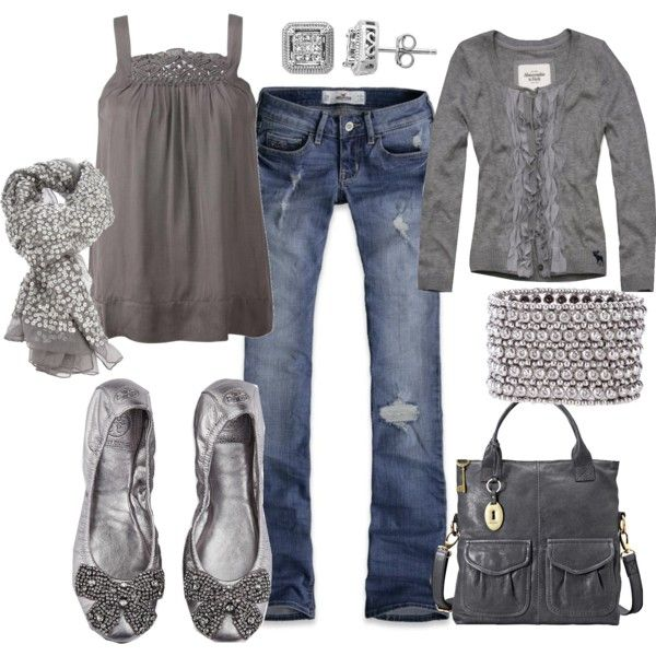 Silver & Grey, created by fleurdelove: Summer Outfit, Dreams Closet, Color, Silver, Fashionista Trends, Grey, Fall Outfit, Fall Fashion Trends, Gray