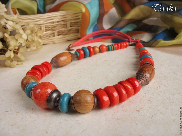 """Купить """"Midway"""" колье этническое из коралла бохо бусы красные голубые - колье натуральные камни  etno style_ ethno necklace_ethno jewelry"""