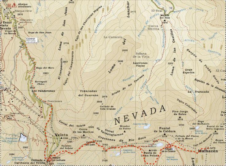 Mulhacen from Hoya de la Mora, with map