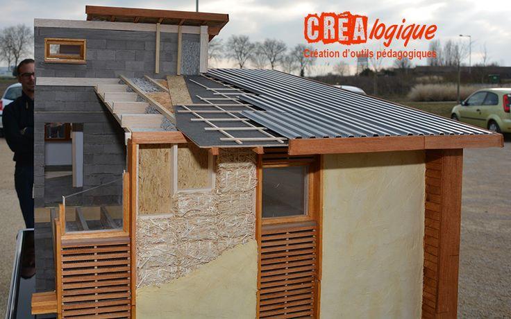 Vue face Nord du CRER avec détail du mur paille et enduit chaux sable et toiture bac acier. Le tout toujours au 1:10e www.crealogique.fr