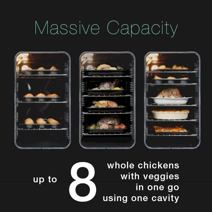 Why do our range cookers feature an incomparable capacity of up to 216L? The secret is in taking a conventional oven space and tipping it on its side. The result: being able to fit 8 whole chickens with veggies in the fanned oven, and still having up to 3 other independently-controlled compartments so you can cook even more!