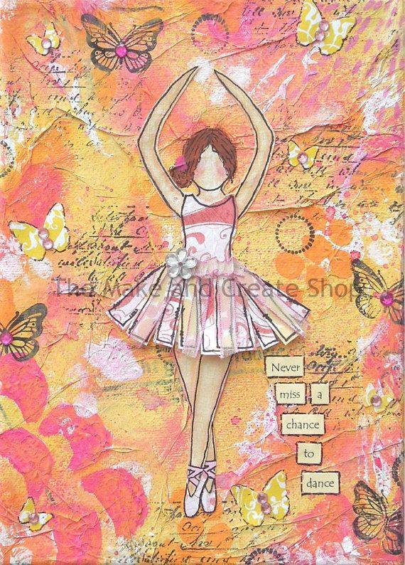 Mixed Media Ballerina Canvas by TheMakeandCreateShop on Etsy, £17.00