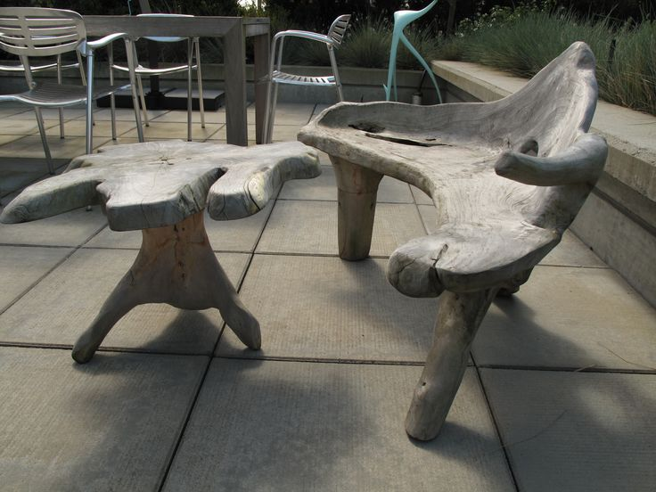 Furniture Made with Driftwood | For Sale: Custom Driftwood Outdoor Chair + Table | Revision Interiors