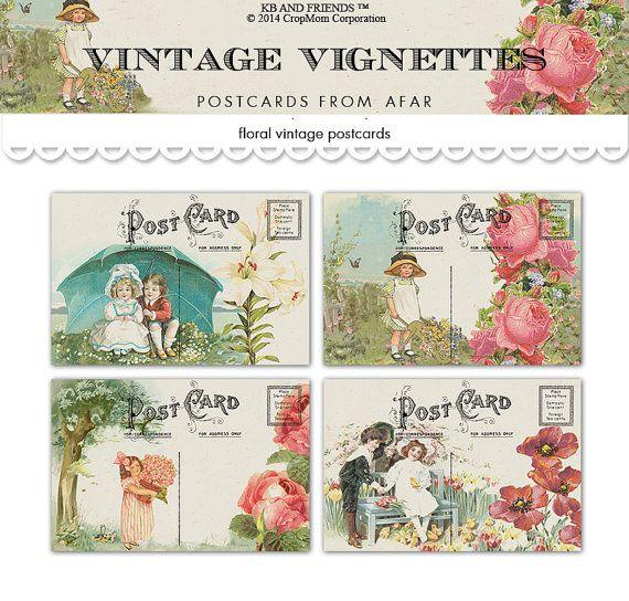 Digital vintage vignettes floral postcards /  shabby chic / ephemera collage sheet /  PDF / two sizes / downloadable, printable