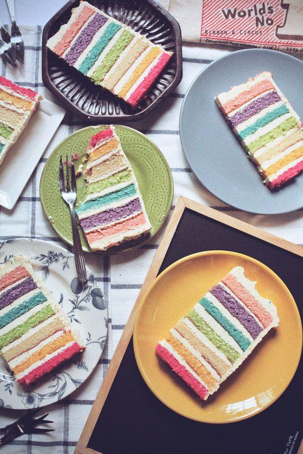 A rainbow approach is also fun. | 35 Amazing Birthday Cake Ideas