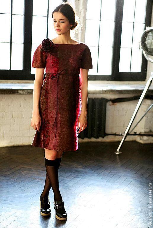 Купить Валяное платье «Cherry wine» - бордовый, винное, вишневое платье, платье валяное