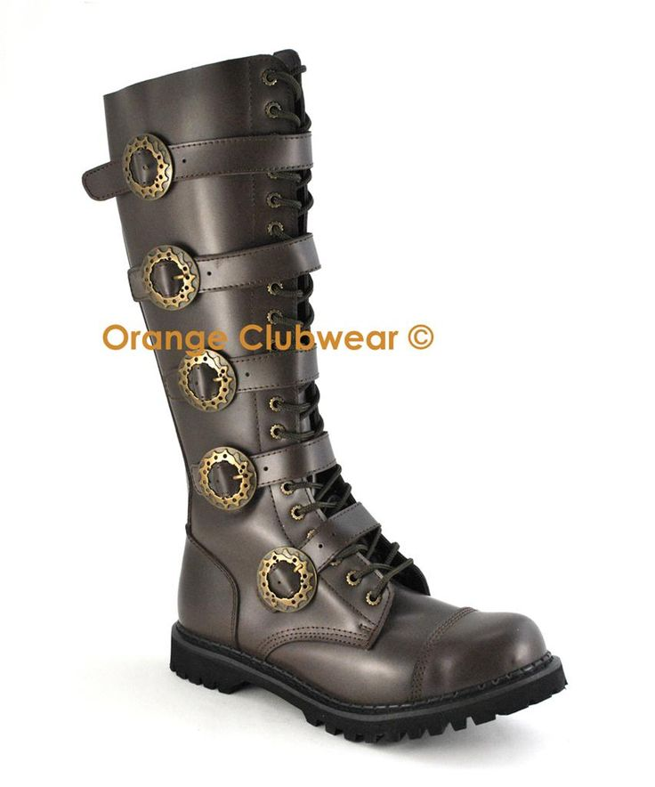 Demonia Womens Steampunk Knee High Brown Leather Combat Steel Toe Boots Shoes | eBay