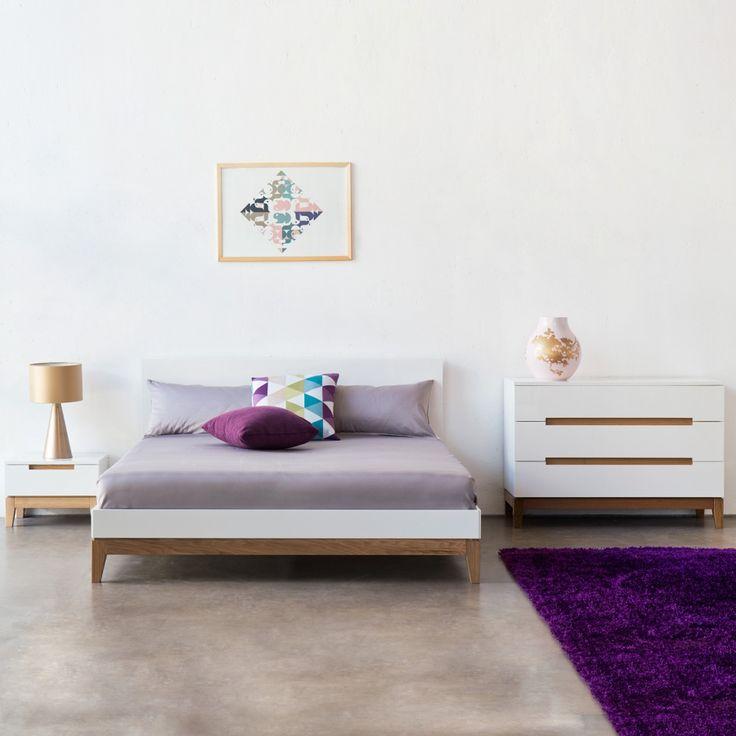 Bett Dahlia - Hochglanz Weiß / Eiche - 180 x 200cm