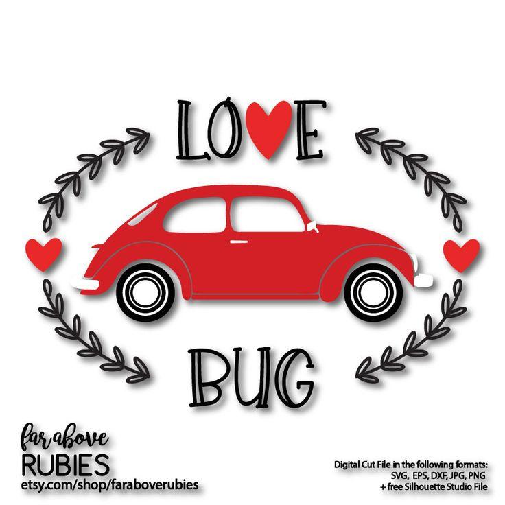 Love Bug with Heart Valentine's Day Car SVG, EPS, dxf, png, jpg digital cut file for Silhouette or Cricut #lovebug #valentine #svg