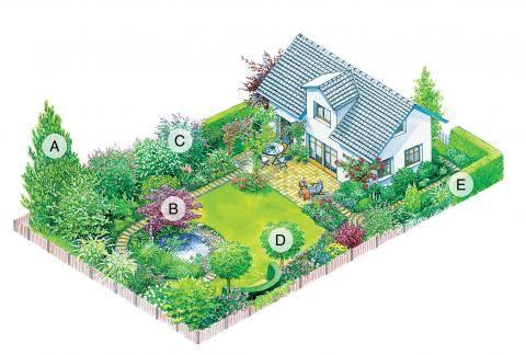 Baum und Strauch Gartenplan