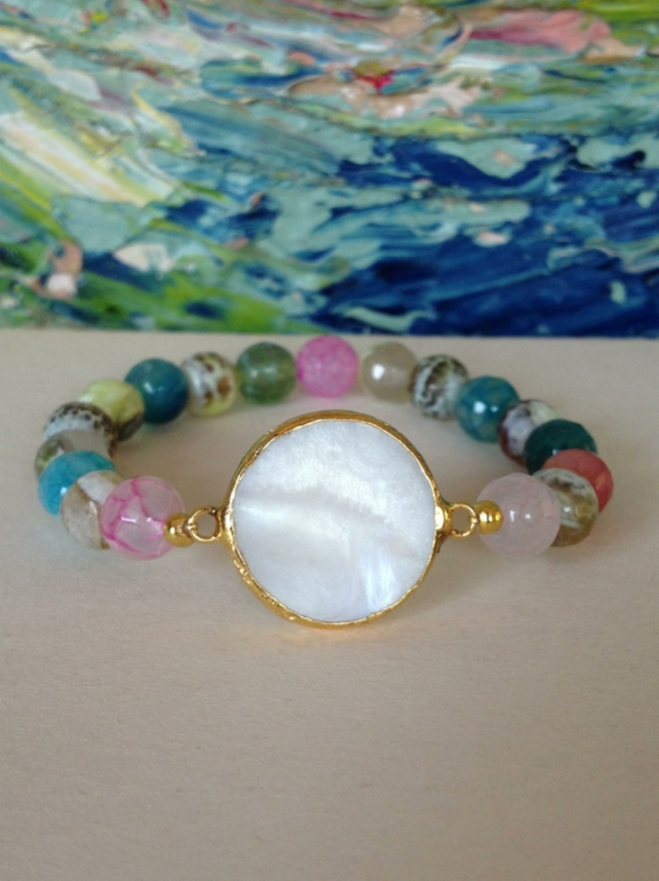 $37.00 Mother of Pearl and Faceted Jade Bracelet By Prettylittlehue