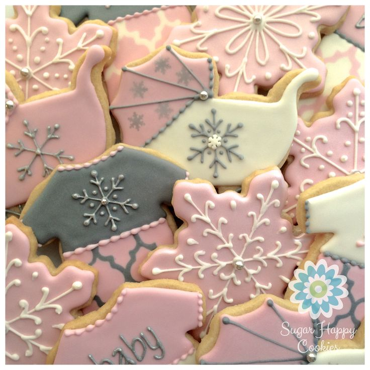 baby it 39 s cold outside baby shower sugar cookie favors girl pink
