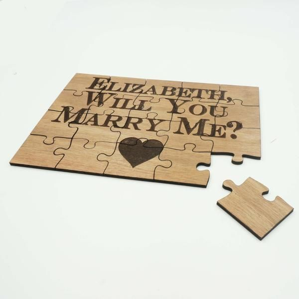 Unique Personalized Wood Jigsaw Puzzle Wedding Engagement Proposal Will You Marry Me 20 Piece 5×7 – notebook of wood