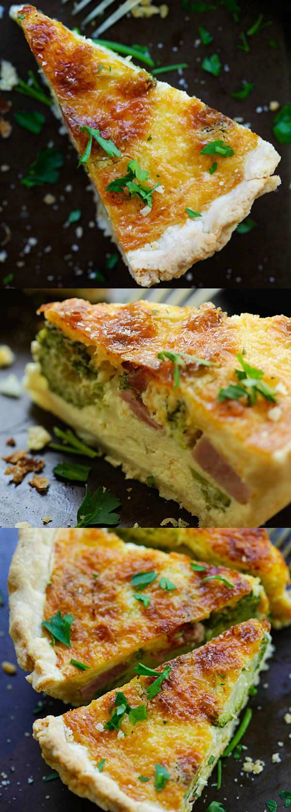 Cheesy Ham and Broccoli Quiche – the BEST homemade quiche you'll ever made, with cheesy egg custard loaded with ham and broccoli. So good   rasamalaysia.com