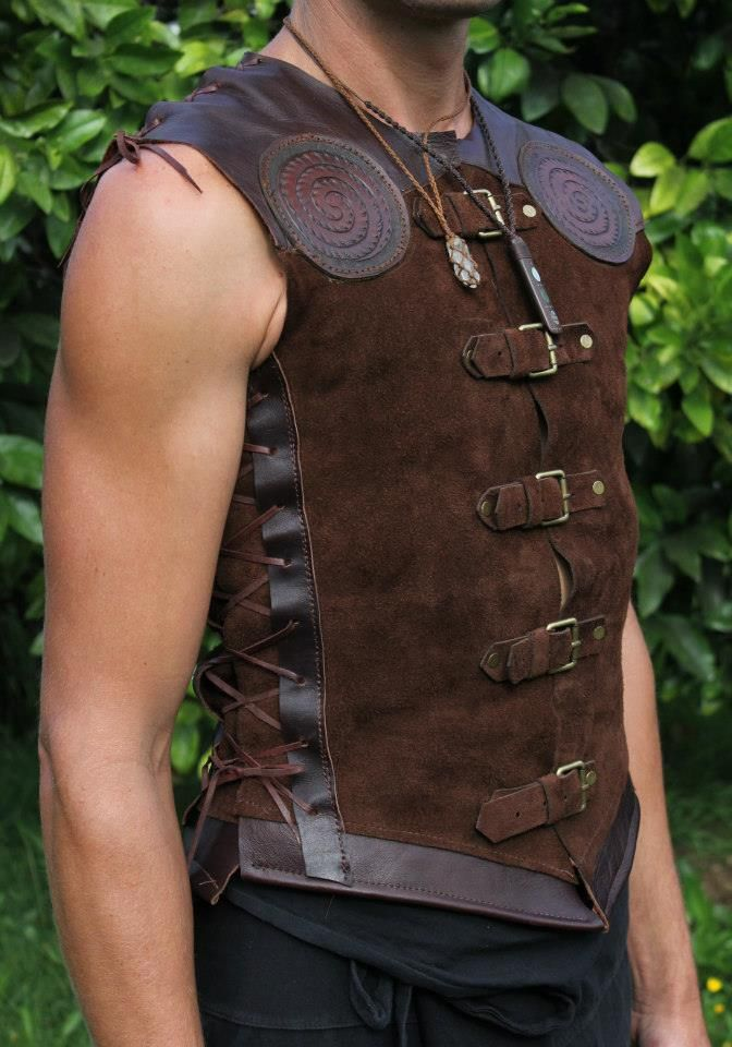 An amazing leather vest that is cut, dyed and handcrafted to fit like a rug.