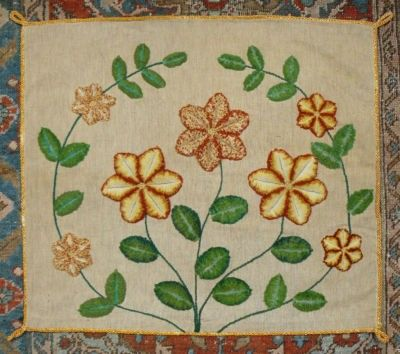 ANTIQUE EDWARDIAN ARTS & CRAFTS FLORAL WOOL PLUSHWORK EMBROIDERY CUSHION COVER (10/05/2011)
