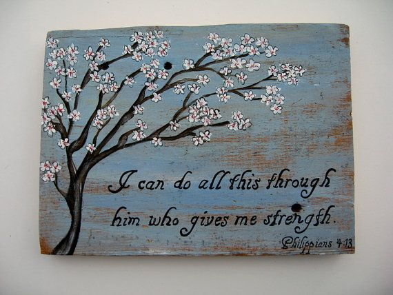 Reclaimed Barnwood Sign Philippians 413 I can do by AntonMurals, $39.95