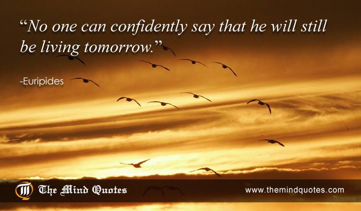No one can confidently say that he will still be living tomorrow. Euripides Quotes on life and confidence