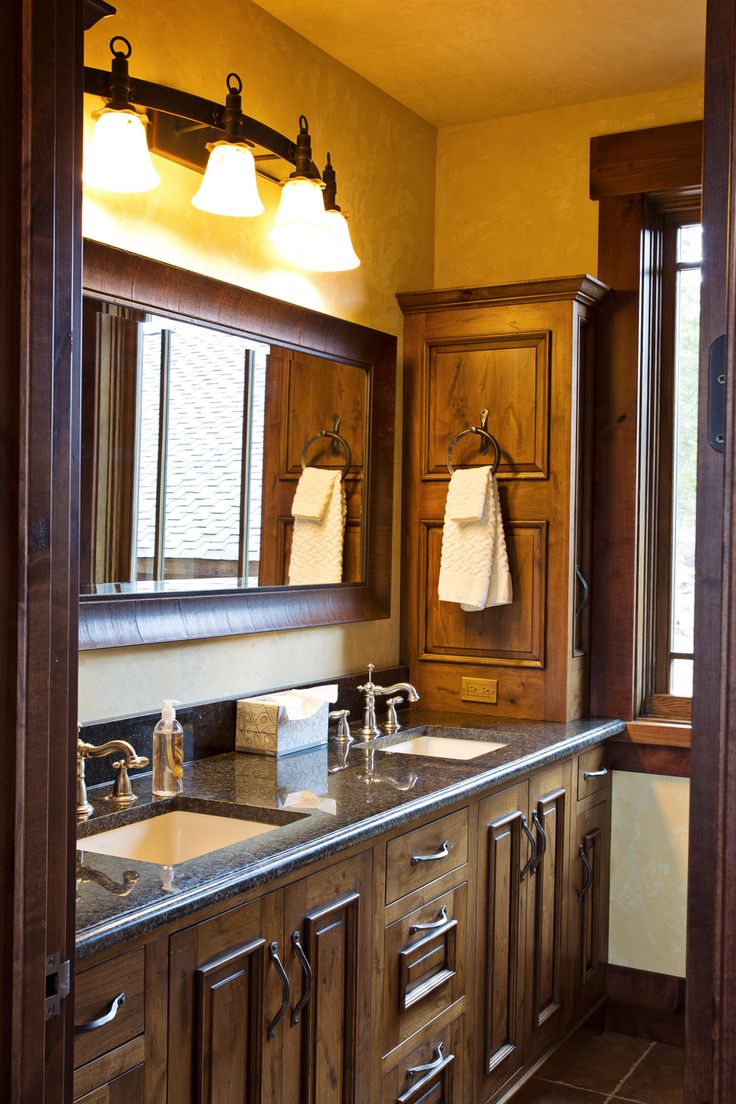Rustic bathroom. Love oversized mirror above double vanity ...