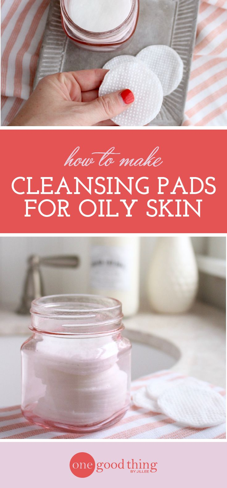 Learn how to make your own homemade cleansing pads that are perfect for oily skin. These leave your skin nice and clean, without feeling overly tight.