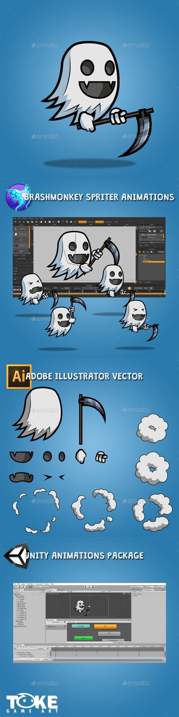 Flying Ghost — Vector EPS #unity #pc • Available here → https://graphicriver.net/item/flying-ghost/18747947?ref=pxcr