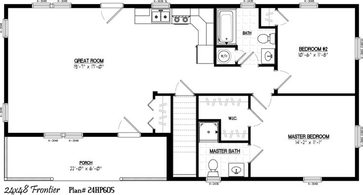 24 X 36 Floor Plans 24 X 48 Including 6 X 22 Porch 2