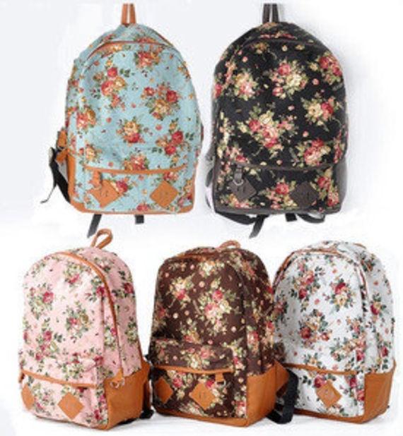 New Women Girl Student Fashion Vintage Cute Flower Schoolbag Campus Bag Backpack