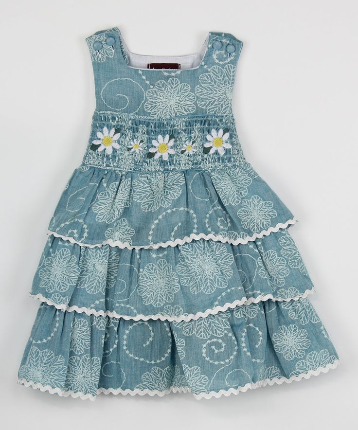 Loving this Blue Daisy Ruffle Smocked Dress - Infant, Toddler & Girls on #zulily! #zulilyfinds