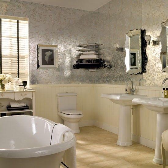 Glamorous neutral bathroom | Bathroom decorating ideas | Bathroom mirrors