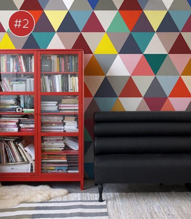 red glass cabinet #decor #wallpaper
