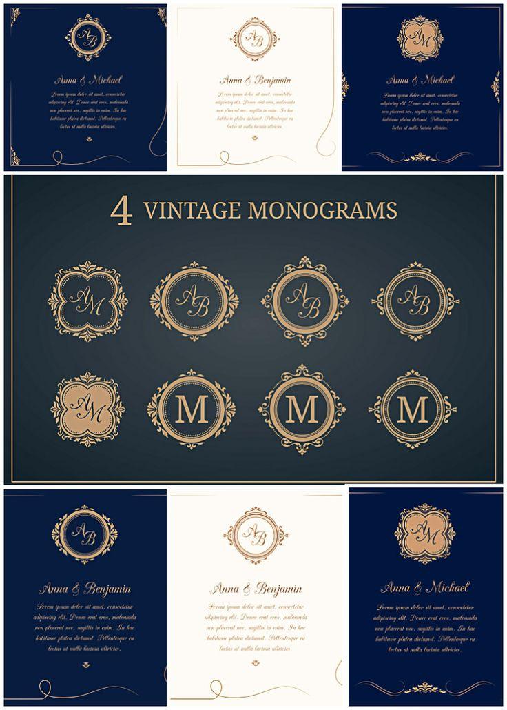 http://cgispread.com/free-vectors/wedding-invitations-with-monograms-vector-collection/