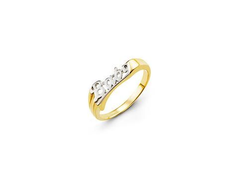 "Bella Baby Two Tone ""Baby"" Ring 10k two tone gold ""BABY"" ring  Weight: 0.89 grams  Ring size: 3.25  Check out our jewellery: https://hwilliamsjewelleryshop.com/collections/all-products/products/two-tone-baby-ring"