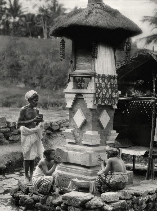 E.O. Hoppé | Sacrificial Altar, Elephant Cave, Bedulu Temple, Bali, 1930