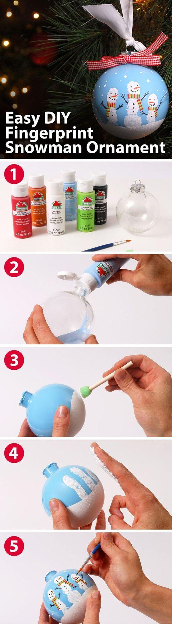 Easy DIY Fingerprint Snowman Ornament! See 25 super creative DIY ornament ideas on www.prettymyparty.com.