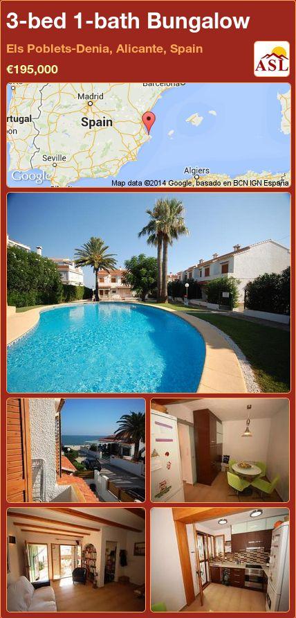 3-bed 1-bath Bungalow in Els Poblets-Denia, Alicante, Spain ►€195,000 #PropertyForSaleInSpain