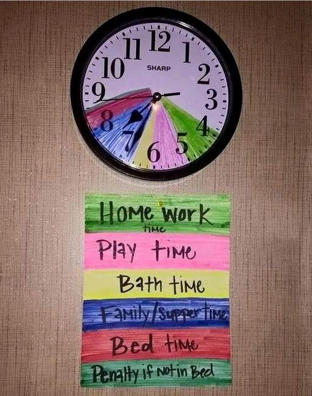 Awesome idea to keep kids on schedule in the afternoon through bedtime!