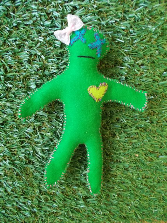 Cute Voodoo  Green by LoveandSqualorCrafts on Etsy, $17.00