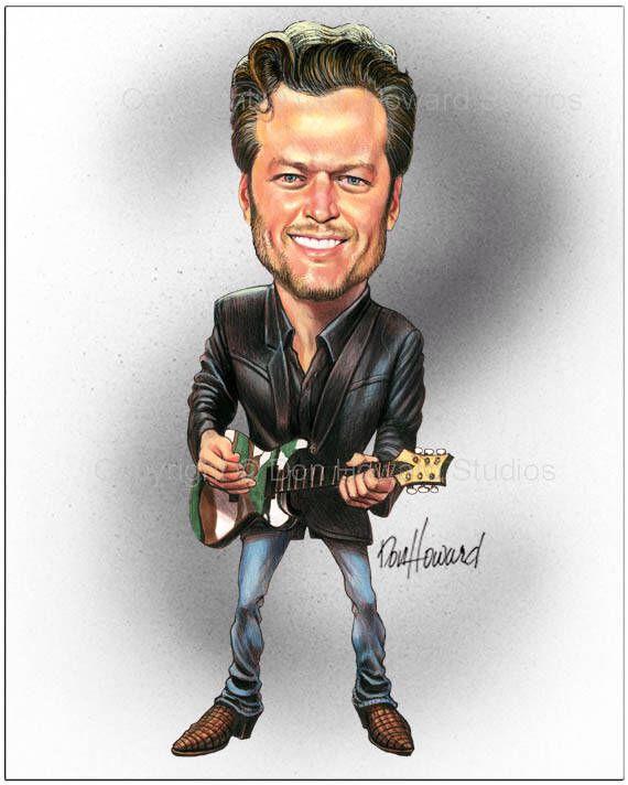 Don Howard's Depiction of Blake Shelton Celebrity Caricature by DonHowardStudios on Etsy https://www.etsy.com/listing/528863531/don-howards-depiction-of-blake-shelton