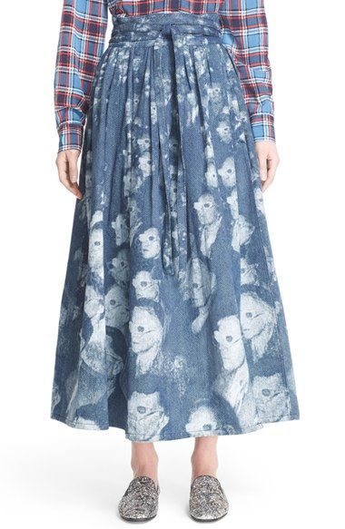 MARC JACOBS Print Denim Midi Dirndl Skirt available at #Nordstrom
