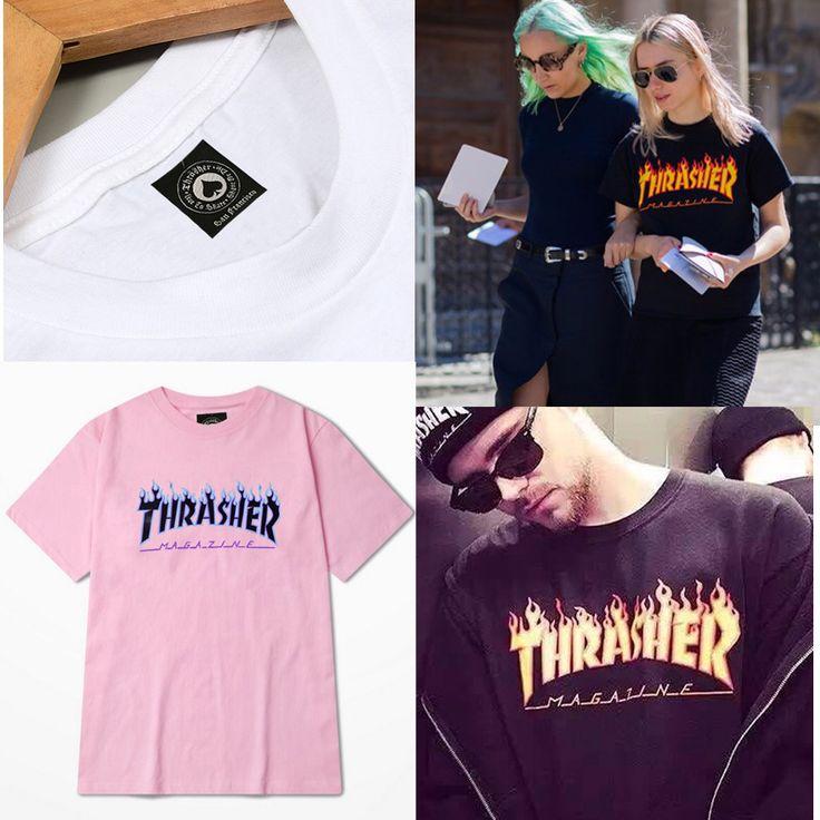 2016 Thrasher T-shirt Mannen vrouwen Skateboards Tee Korte Mouw Skate t-shirts Tops hiphop t-shirt homme Man Trasher T shirts