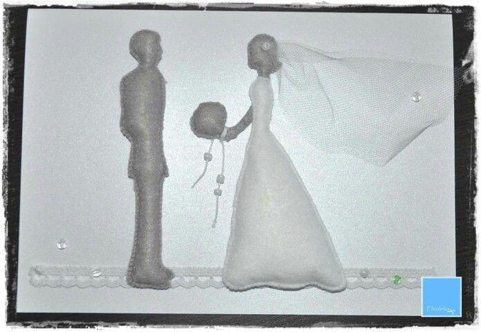 Kartka ślubna handmade filc
